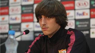 Bryan Gil (18), en la sala de prensa del estadio GSP.