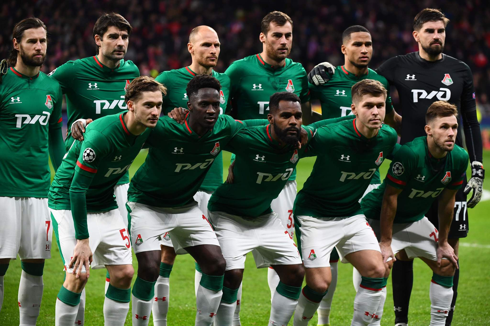 <HIT>Lokomotiv</HIT> players line up before the UEFA Champions League football match between Club Atletico de Madrid and <HIT>Lokomotiv</HIT> Moscow at the Wanda Metropolitano stadium in Madrid on December 11, 2019. (Photo by GABRIEL BOUYS / AFP)