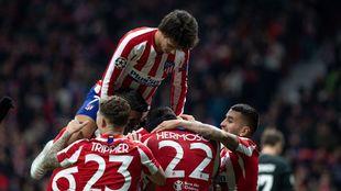 Joao Féliz celebra su gol en el Wanda Metropolitano