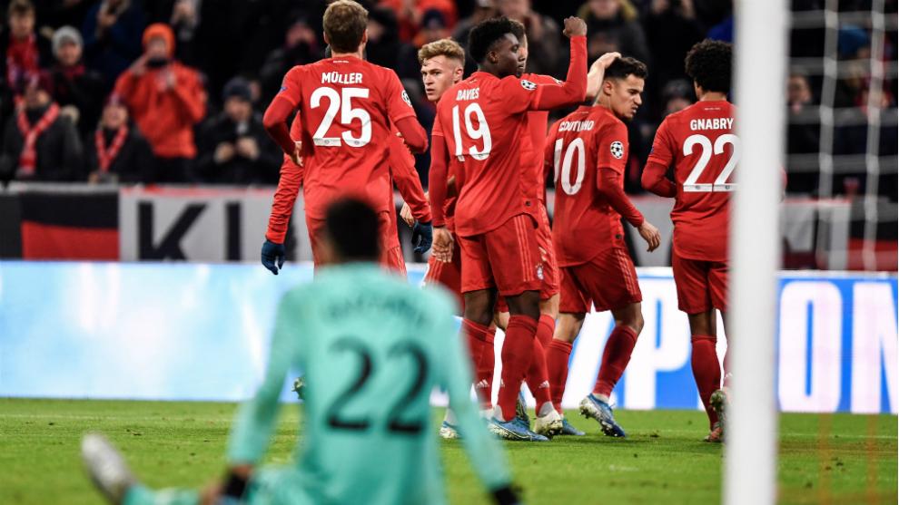Los futbolistas del Bayern celebran uno de los goles marcados al Tottenham