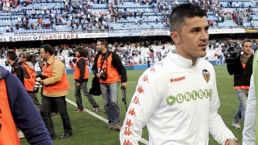 Villa, el día que se despidió de Mestalla como jugador del Valencia...