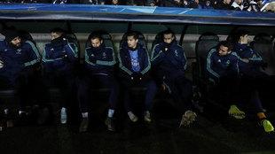 Gareth Bale, en el banquillo durante el partido ante el Brujas.