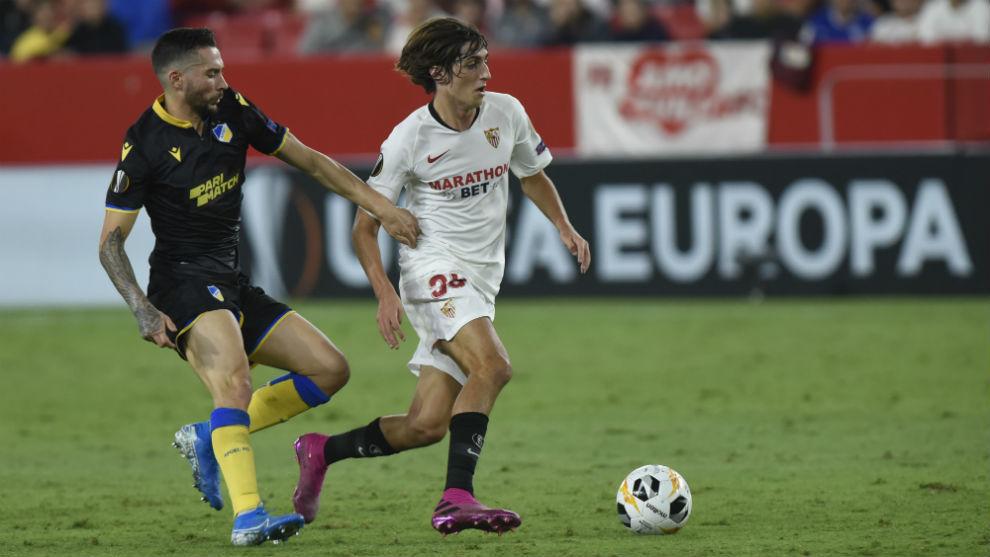 Bryan Gol, en el Sevilla-APOEL de la ida.