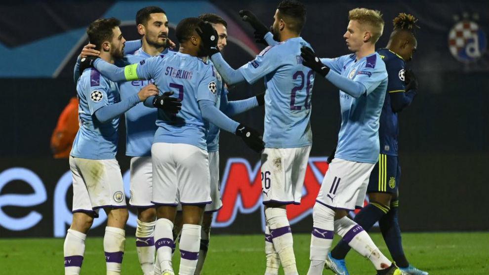 El City celebra uno de sus goles.