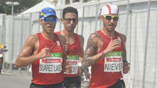 Alberto Suárez, El Amin Chentouf y Gustavo Nieves, en el maratón de...