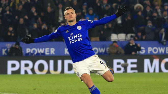 Vardy celebra uno de sus goles con el Leicester.