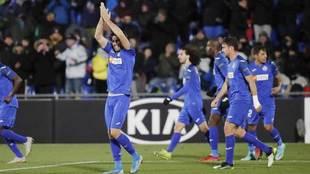 Cabrera celebra el tanto que marcó ante el Krasnodar.