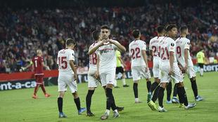 Mnir celebra un gol en la fase de grupos.