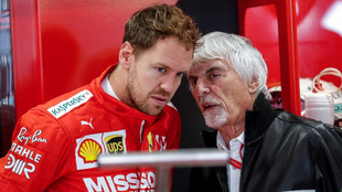 Sébastian Vettel y Bernie Ecclestone.