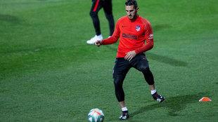 Koke, en el entrenamiento de este viernes del Atlético.