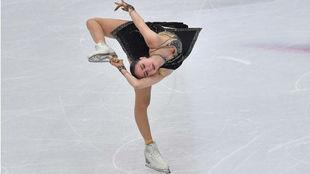 Alina Zagitova en el Grand Prix de Turín, este mes.