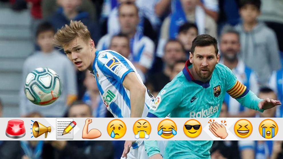 Messi y Odegaard durante el Real-Barça