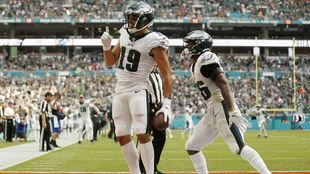 J.J. Arcega-Whiteside tras su primer 'touchdown' en la NFL