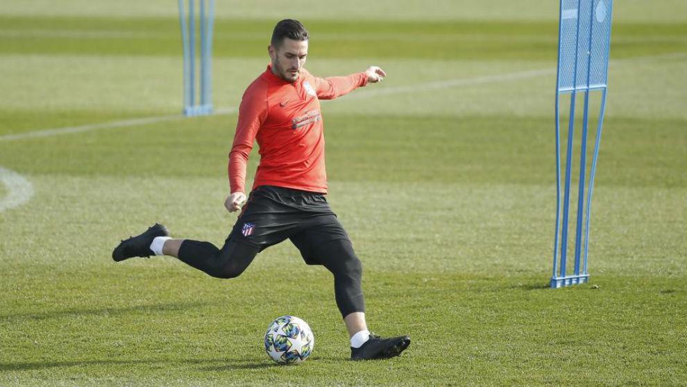 Koke, en entrenamiento del Atlético de Madrid.