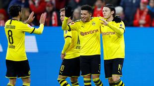 El Dortmund celebra uno de sus goles al Mainz.