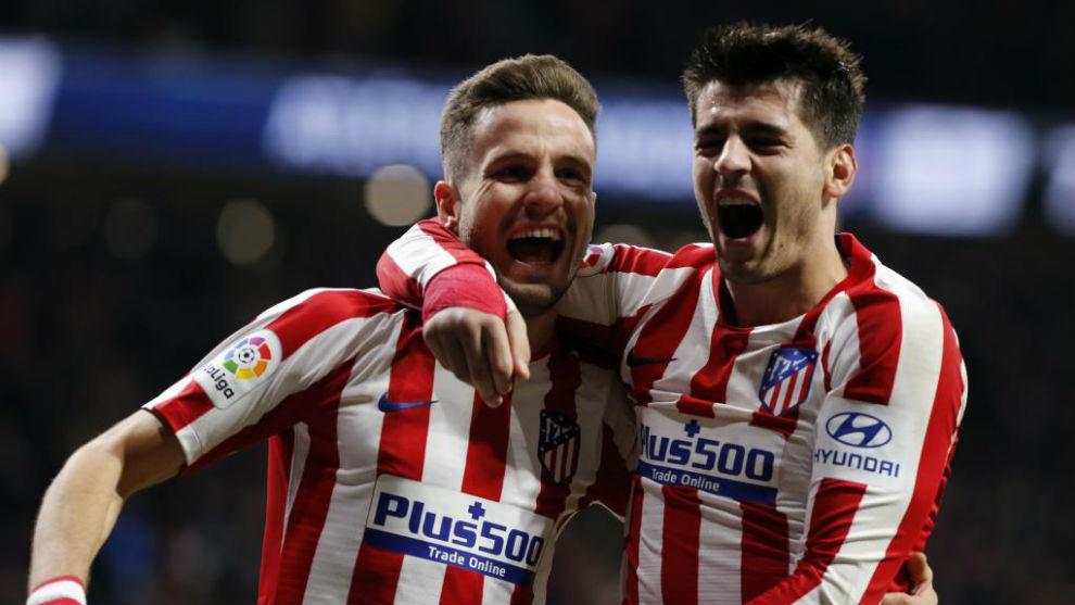 Saúl y Morata en la celebración.