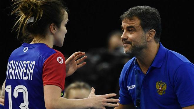 Ambros Martín y Vyakhireva, durante el partido por el tercer y cuarto...