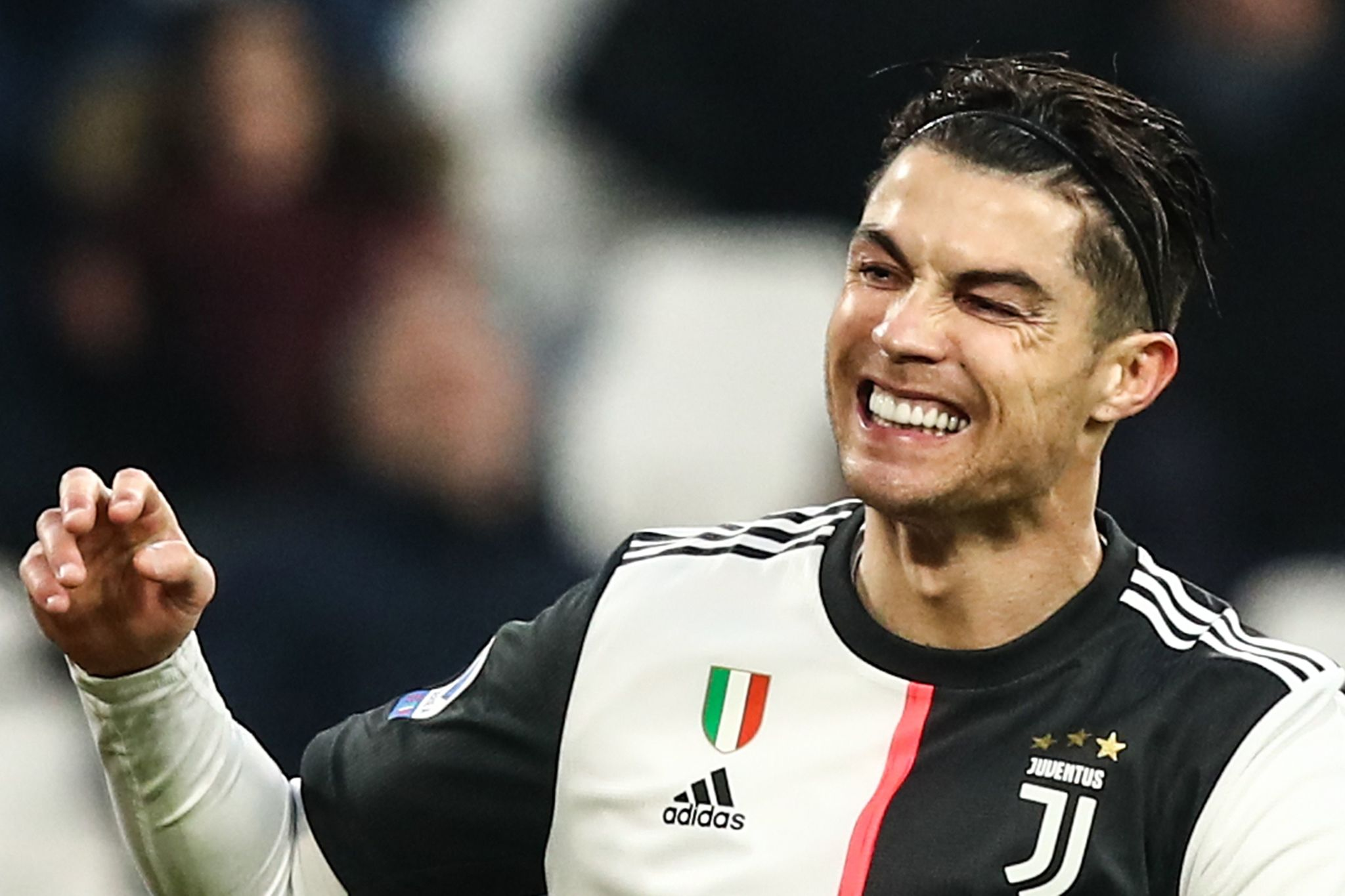 Juventus Portuguese forward <HIT>Cristiano</HIT> Ronaldo reacts during the Italian Serie A football match Juventus vs Udinese on December 15, 2019 at the Juventus Allianz stadium in Turin. (Photo by Isabella BONOTTO / AFP)