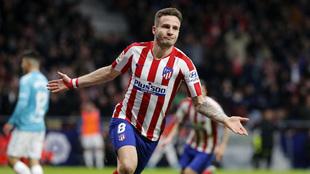 Saúl celebra el gol conseguido ante Osasuna.