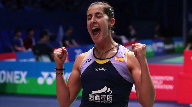 Carolina Marín, celebrando una victoria.