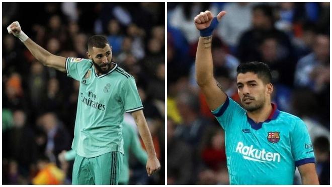 Karim Benzema y Luis Suárez tras marcar a Valencia y Real Sociedad