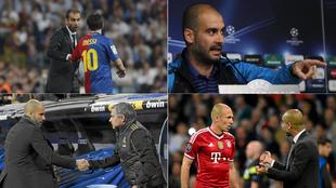 Guardiola, en cuatro momentos distintos de sus partidos en el...