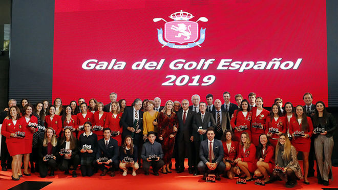 Todos los premiados en la Gala del Golf Español 2019.