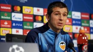 Celades, en una rueda de prensa previa al partido de Champions contra...
