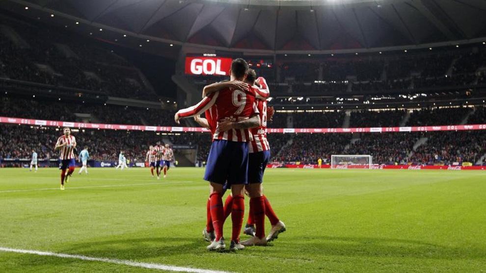 Los jugadores del Atlético de Madrid celebrando un gol.