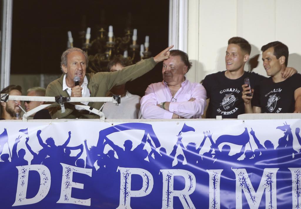 Imagen de la celebración del ascenso a Primera división de la SD...