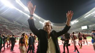 Jorge Jesus celebra el pase de su equipo a la final del Mundial