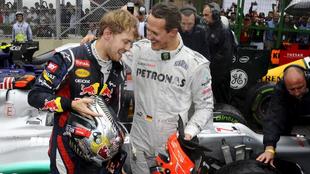 Sébastian Vettel y Michael Schumacher.