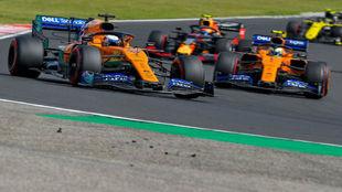 Sainz y Norris, en el GP de Hungría 2019.
