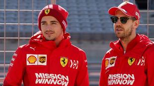 Charles Leclerc y Sébastian Vettel.