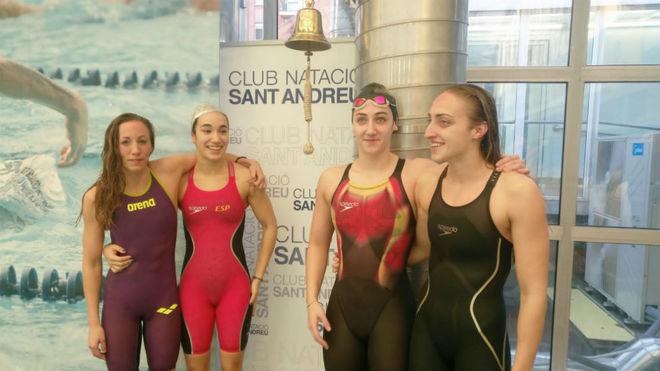 El cuarteto femenino de 4x50 m estilos del Sant Andreu.