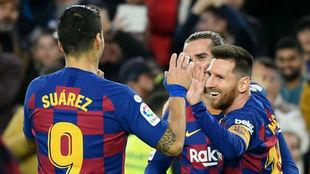 Luis Suárez, Griezmann y Messi
