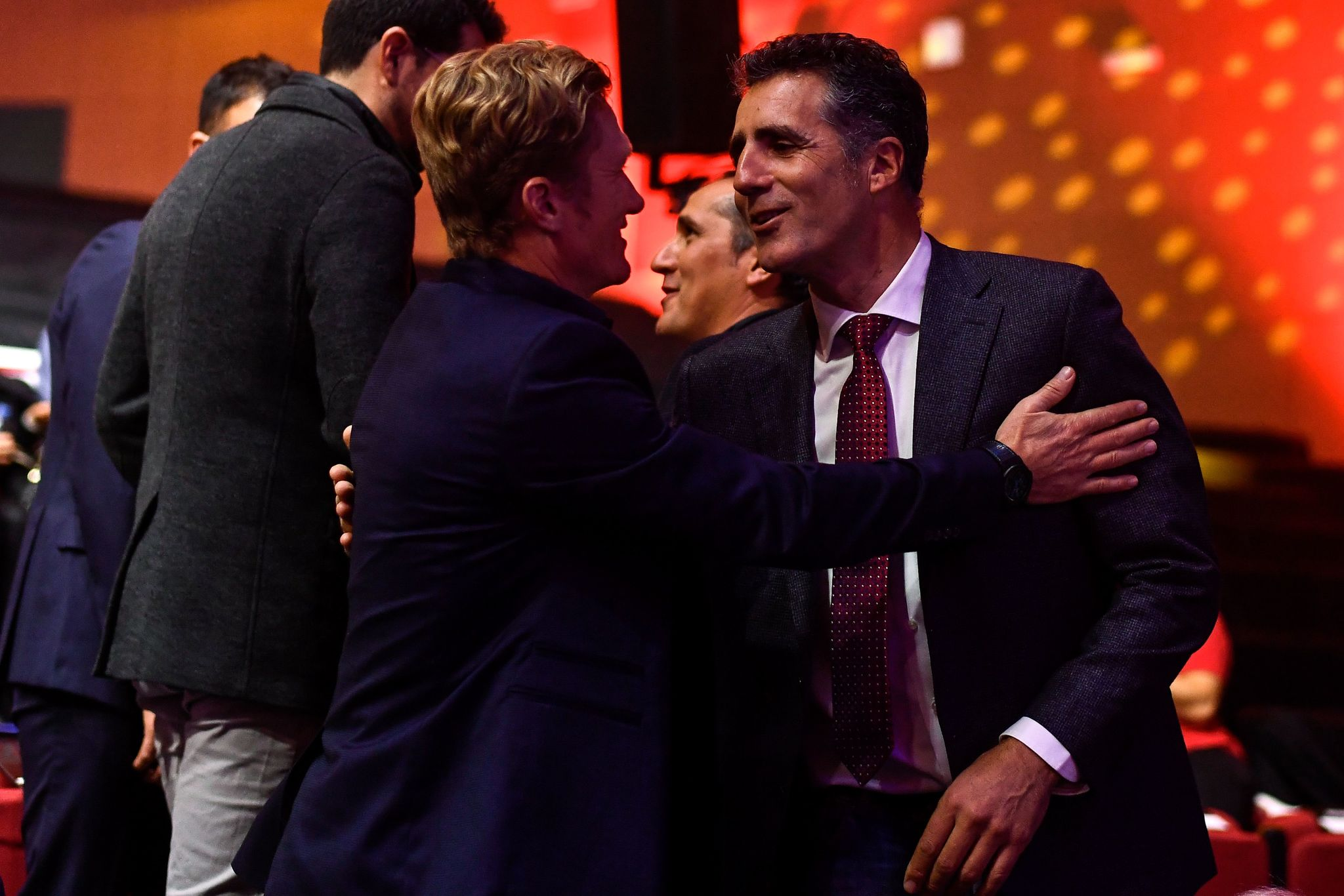 Former Spanish cyclist Miguel <HIT>Indurain</HIT> (R) attends the presentation of the 75th La Vuelta cycling tour of Spain 2020, in Madrid on December 17, 2019. (Photo by OSCAR DEL POZO / AFP)