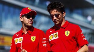 Sébastian Vettel y Charles Leclerc.