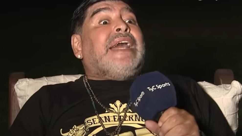 Diego Armando Maradona durante su entrevista en el progama 'Líbero'...