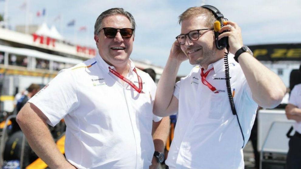 Zak Brown, CEO de McLaren, junto a Andreas Seidl, director deportivo.