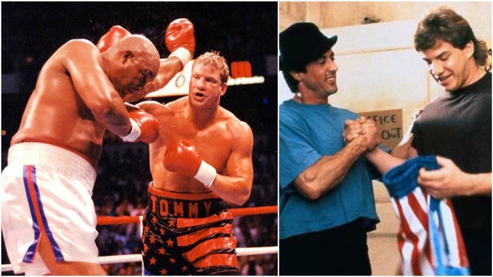 Morrison contra Foreman (The Ring via Getty) y junto a Stallone en...