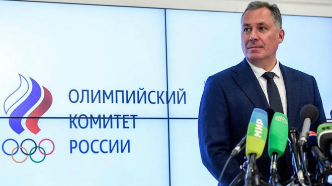 Stanislav Pozdniakov, presidente del Comité Olímpico Ruso, durante...