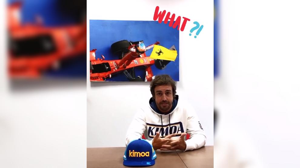 Fernando Alonso, durante su mensaje lanzado en Kimoa.