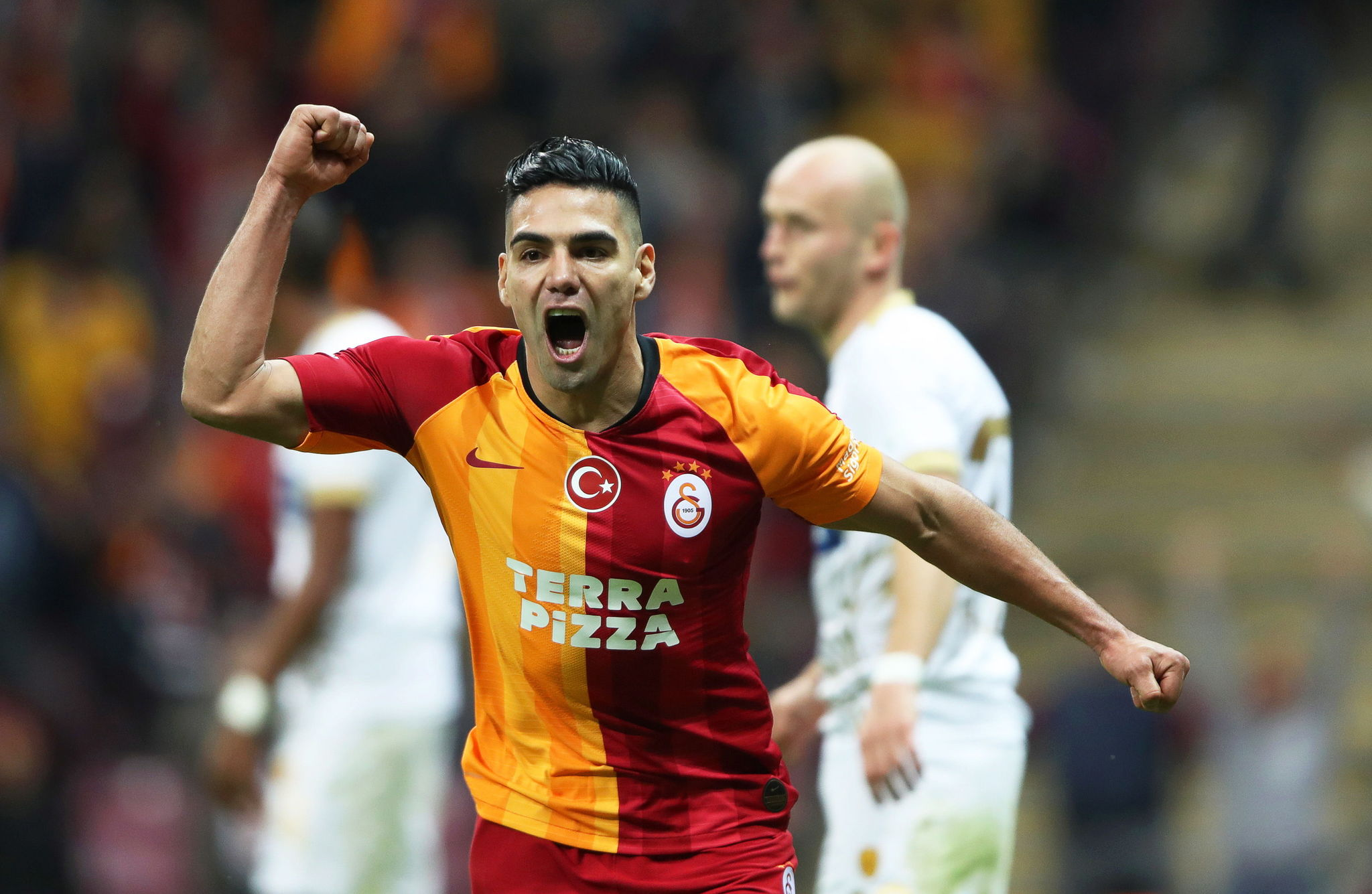Istanbul (Turkey), 14/12/2019.- Galatasarays Radamel <HIT>Falcao</HIT> celebrates his teams 1-0 lead during the Turkish Super League soccer match between Galatasaray Istanbul and MKE Ankaragucu in Istanbul, Turkey, 14 December 2019. (Turquía, Estanbul) EFE/EPA/ERDEM SAHIN