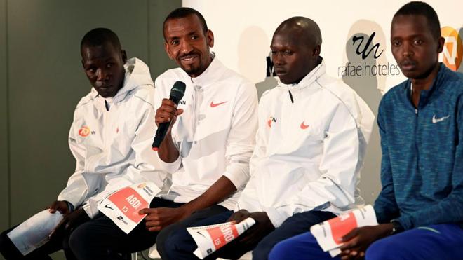 Bashir Abdi durante la presentación de la carrera ayer en Madrid.