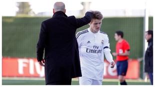 Zidane y Odegaard, en un partido del Castilla