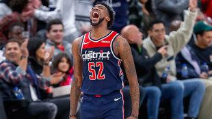 Jordan McRae celebra la victoria de los Wizards ante los Heat