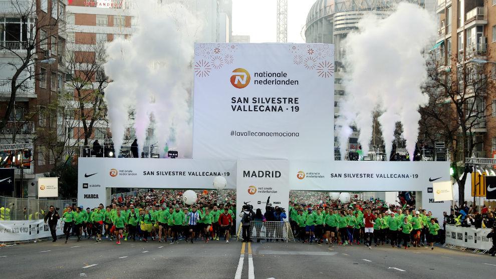 Una imagen de la salida de la carrera popular de la San Silvestre...