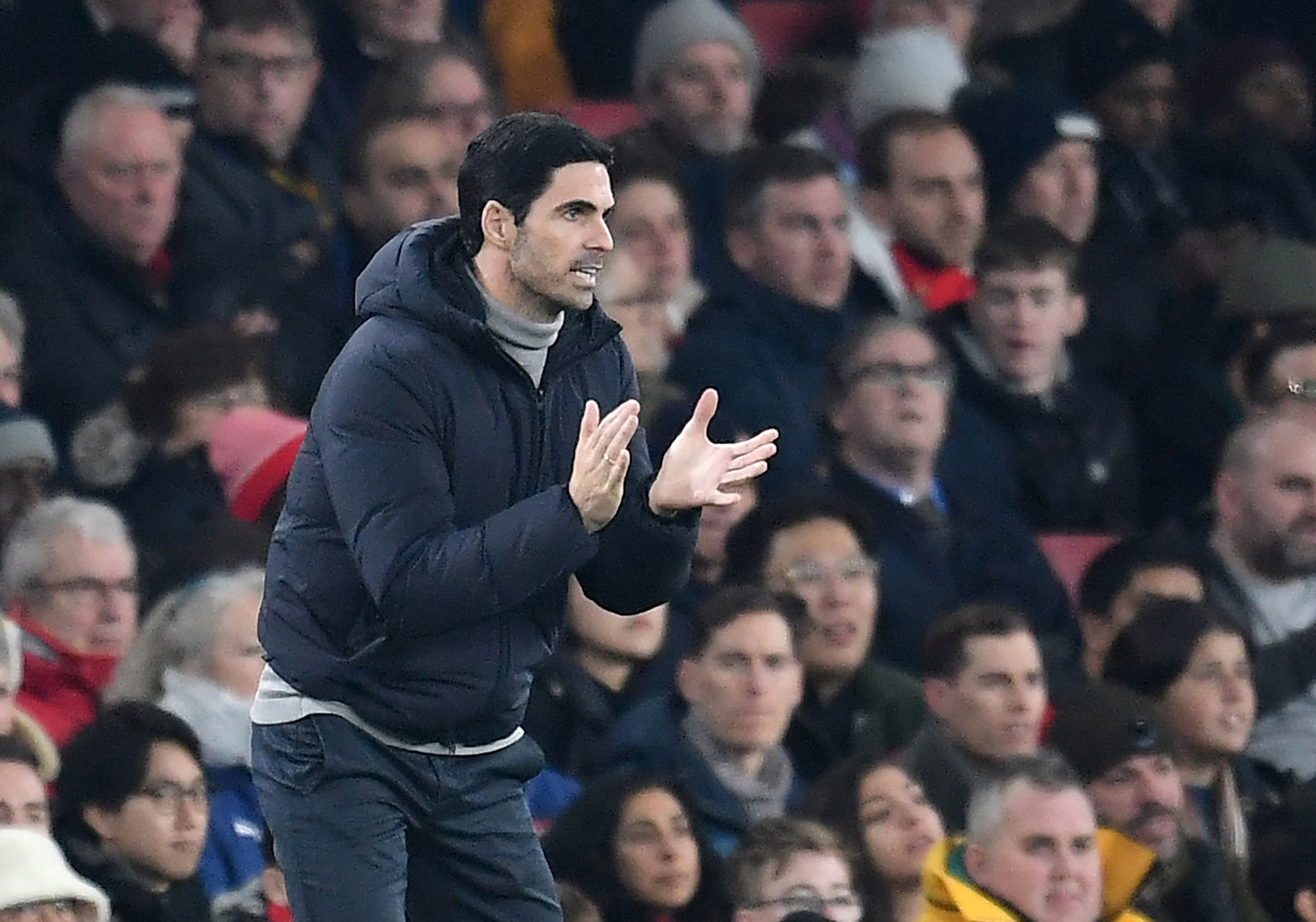 London (United Kingdom), 01/01/2020.- Arsenals manager Mikel <HIT>Arteta</HIT> reacts during the English Premier league soccer match between Arsenal and Manchester United held at the Emirates stadium in London, Britain, 01 January 2020. (Reino Unido, Londres) EFE/EPA/ANDY RAIN EDITORIAL USE ONLY. No use with unauthorized audio, video, data, fixture lists, club/league logos or live services. Online in-match use limited to 120 images, no video emulation. No use in betting, games or single club/league/player publications