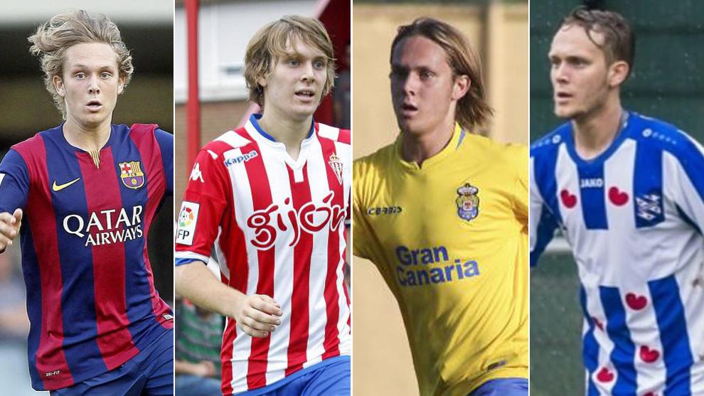 Halilovic, con las camisetas de Barça, Sporting, Las Palmas y...